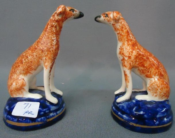 71: PAIR OF MINIATURE STAFFORDSHIRE WHIPPET FIGURINES