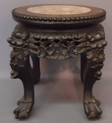 """77: SMALL CARVED CHINESE  STAND WITH MARBLE TOP 13 1/2"""""""