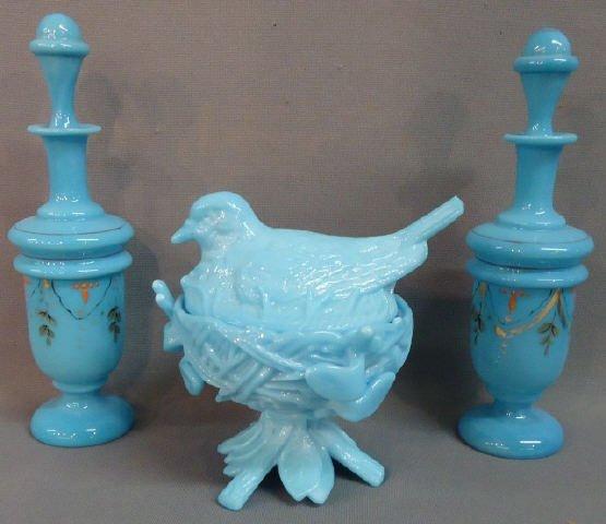 250: THREE PCS. BLUE OPAQUE GLASS