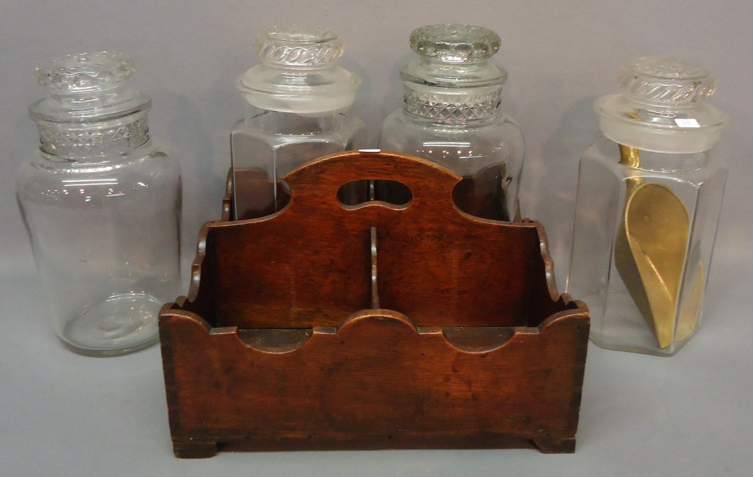 68: EARLY WALNUT BOTTLE CARRY WITH 4 CANNISTERS