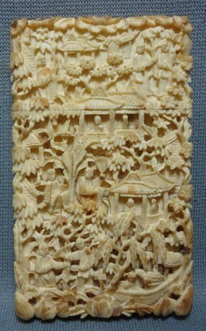171: CHINESE INTRICATLY CARVED IVORY  CALLING CARD CASE