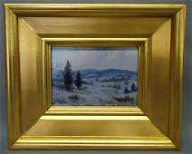 """200: WILLIAM R. DAVIS PAINTING """"WINTER IN THE VALLEY'"""