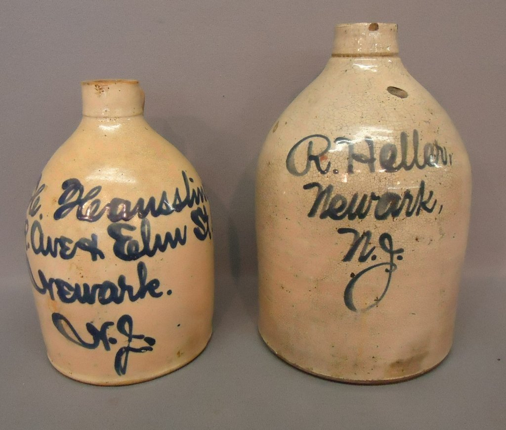 27: TWO COBALT BLUE DECORATED STONEWARE JUGS