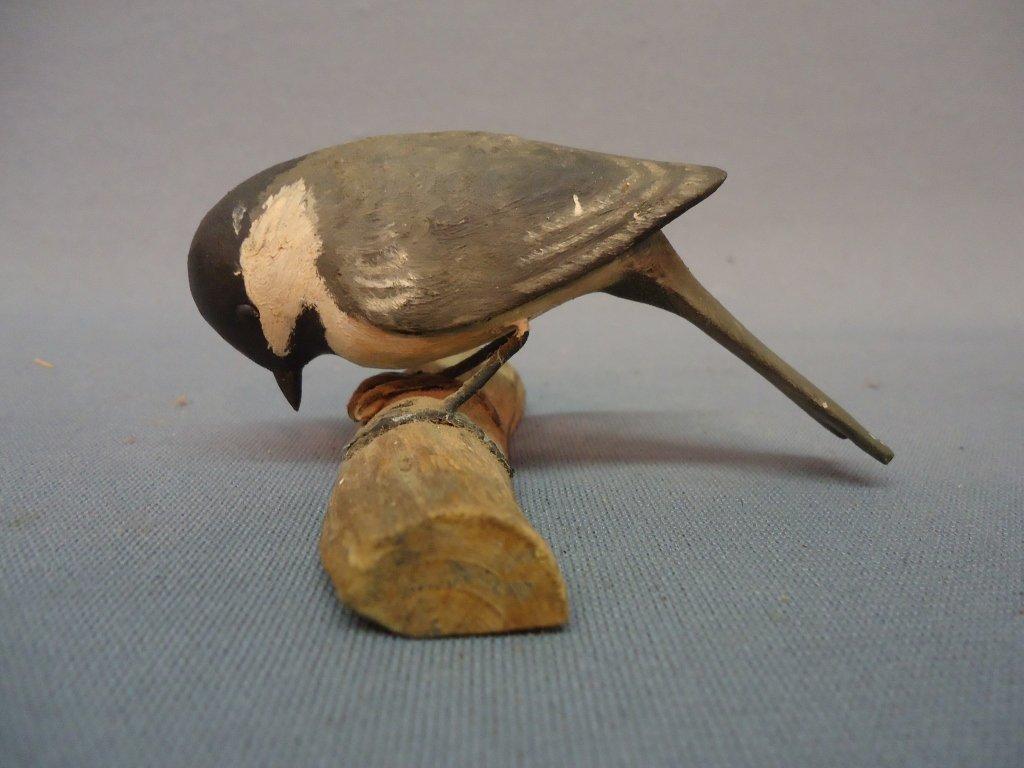 21: BIRD CARVING OF A CHICKADEE SIGNED E.F.