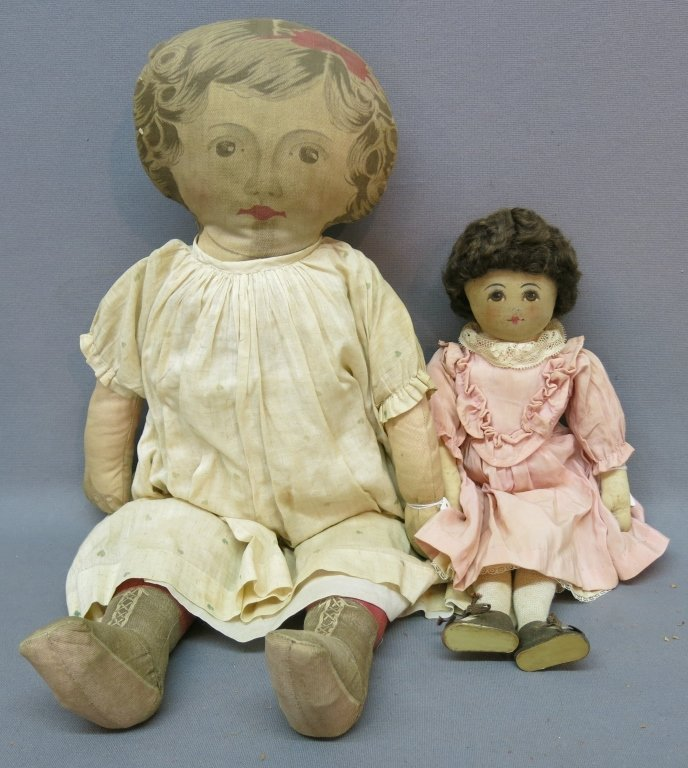 VINTAGE CLOTH DOLL WITH HANDPAINTED FACE