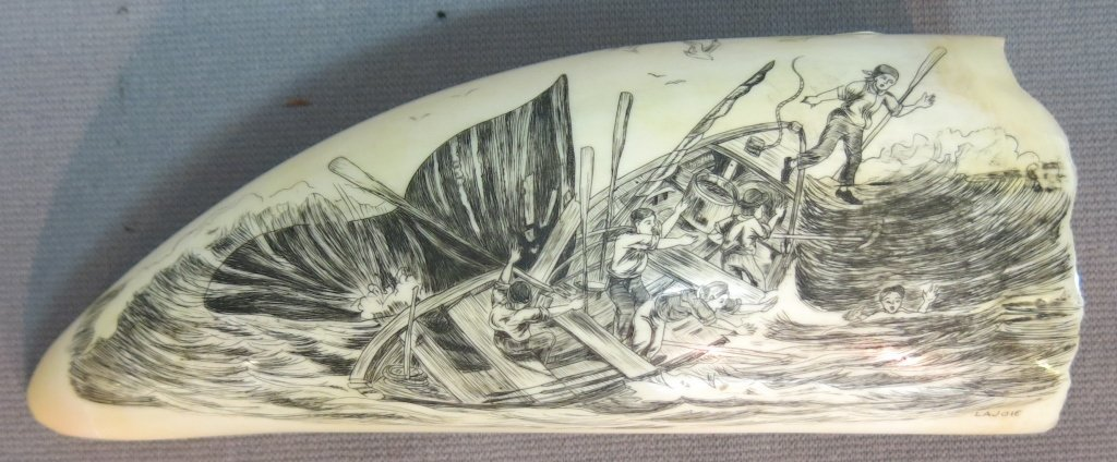SCRIMSHAWED WHALE'S TOOTH