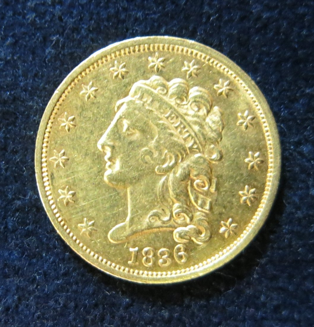 CLASSIC HEAD 1836 2 1/2 DOLLAR GOLD COIN