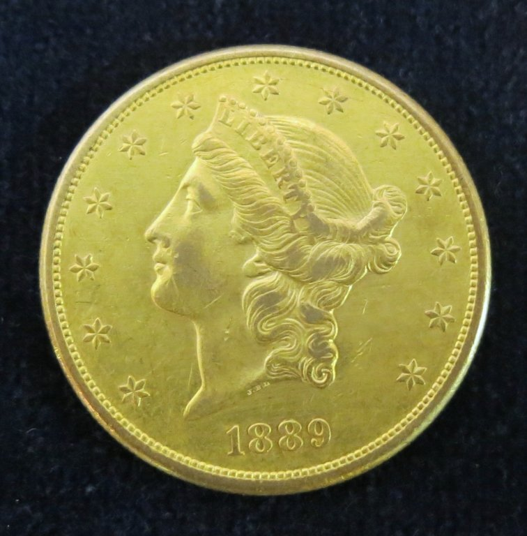S LIBERTY HEAD 1889 $20 GOLD COIN