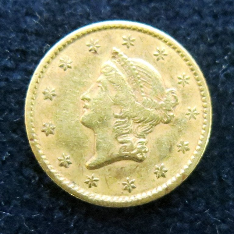 LIBERTY HEAD 1852 $1 GOLD COIN
