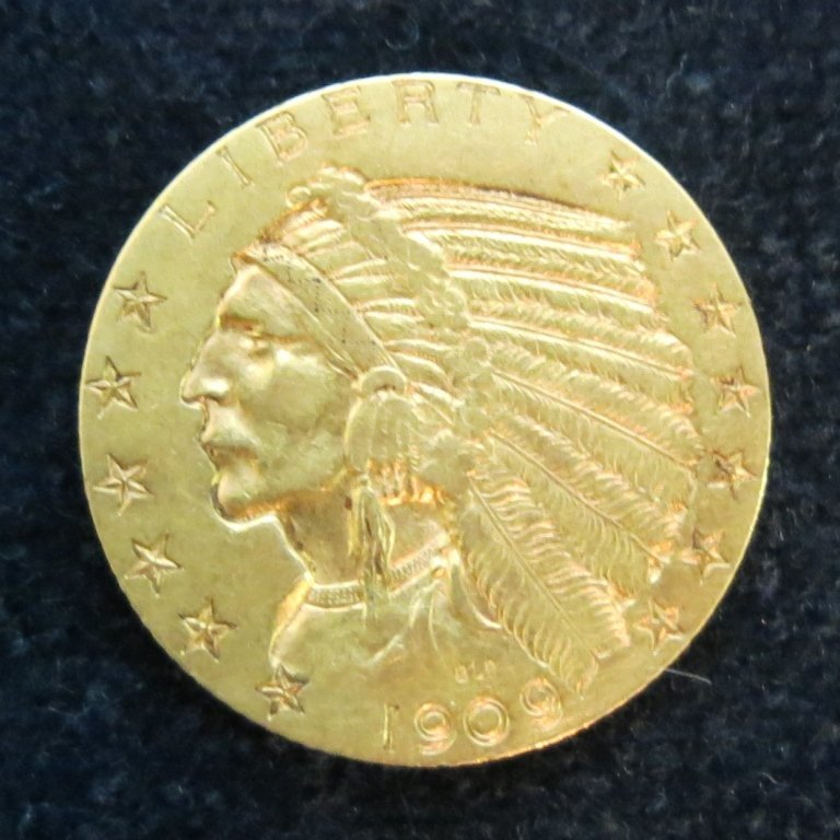 INDIAN HALF EAGLE 1909 $5 GOLD COIN