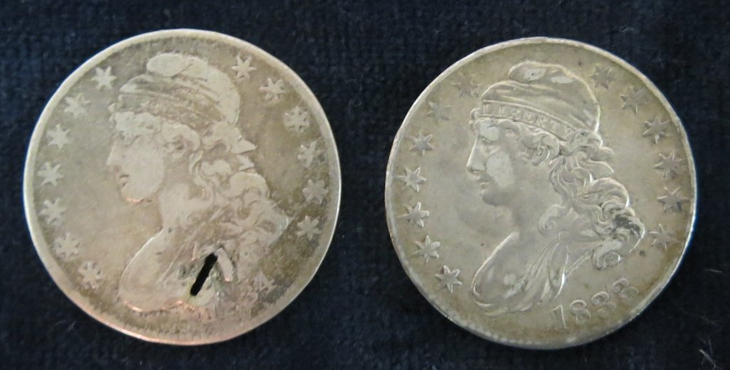 TWO HALF DOLLAR BUST SILVER COINS - 1833 & 1834