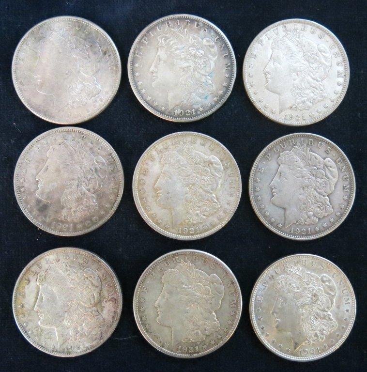 LOT OF 9 1921 SILVER DOLLARS