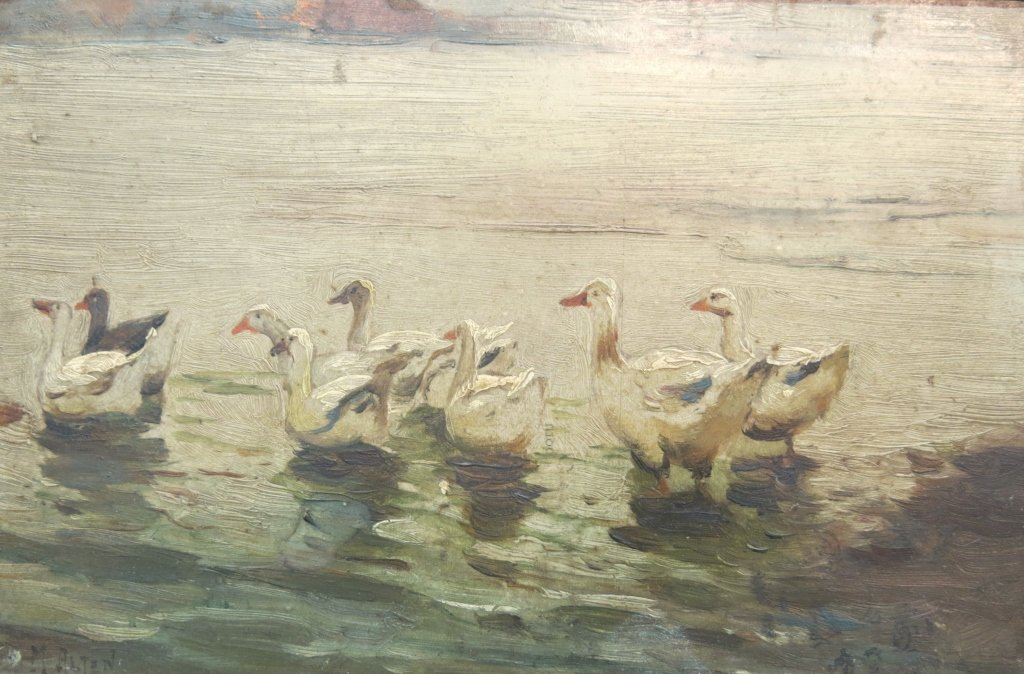 MATHIAS ALTEN OIL ON BOARD PAINTING OF GEESE
