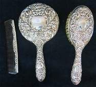 BOXED STERLING SILVER BACKED VANITY SET