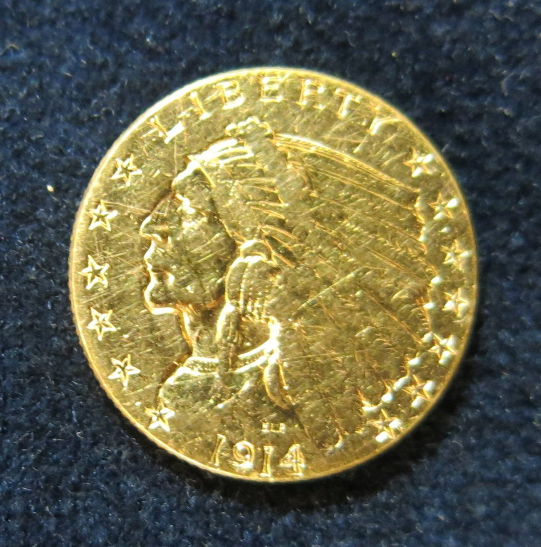 INDIAN HALF EAGLE 1914 $2 1/2 GOLD COIN