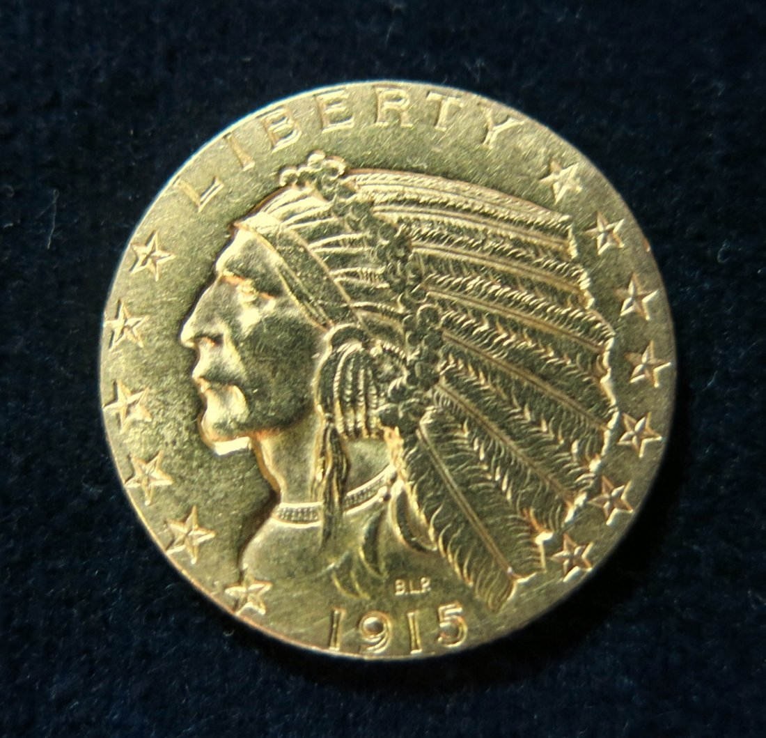 INDIAN HALF EAGLE 1915 $5 GOLD COIN