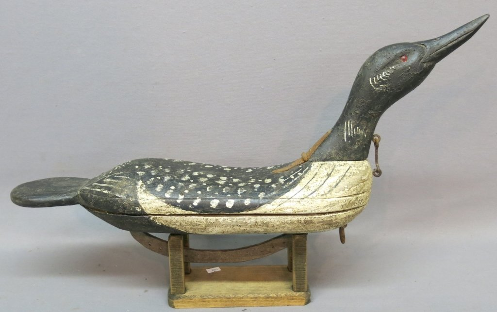 CARVED AND PAINTED LOON DECOY BY VERNON BRYANT