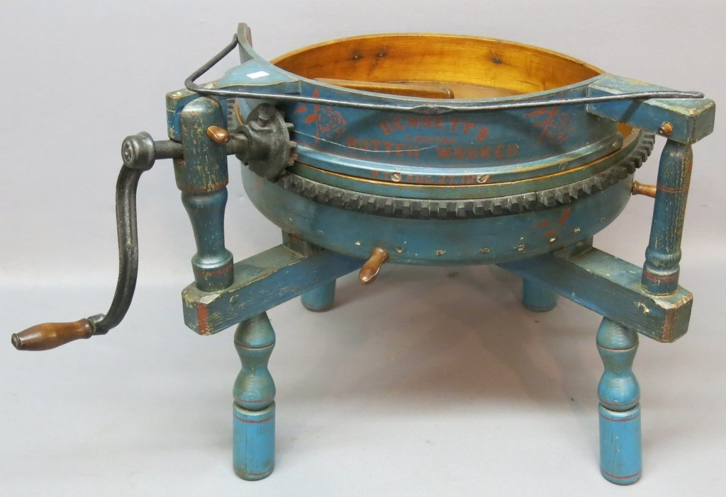 'BENNET'S BUTTER WORKER' TABLE IN OLD BLUE PAINT