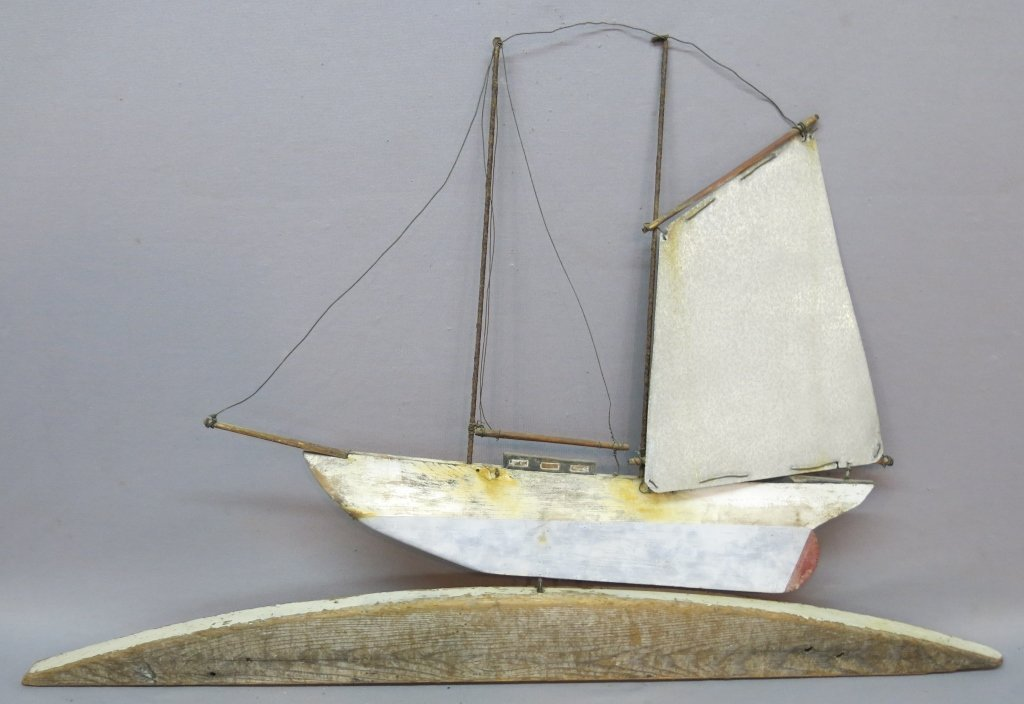 EARLY 20TH C. WOOD AND TIN SHIP WEATHERVANE TOPPER