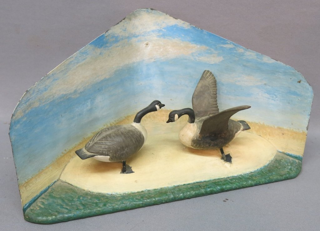 FOLKY DISPLAY OF CARVED AND PAINTED CANADA GEESE