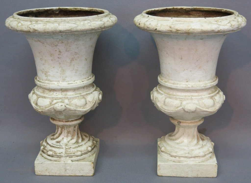 PAIR OF FRENCH CAST IRON GARDEN URNS PAINTED WHITE
