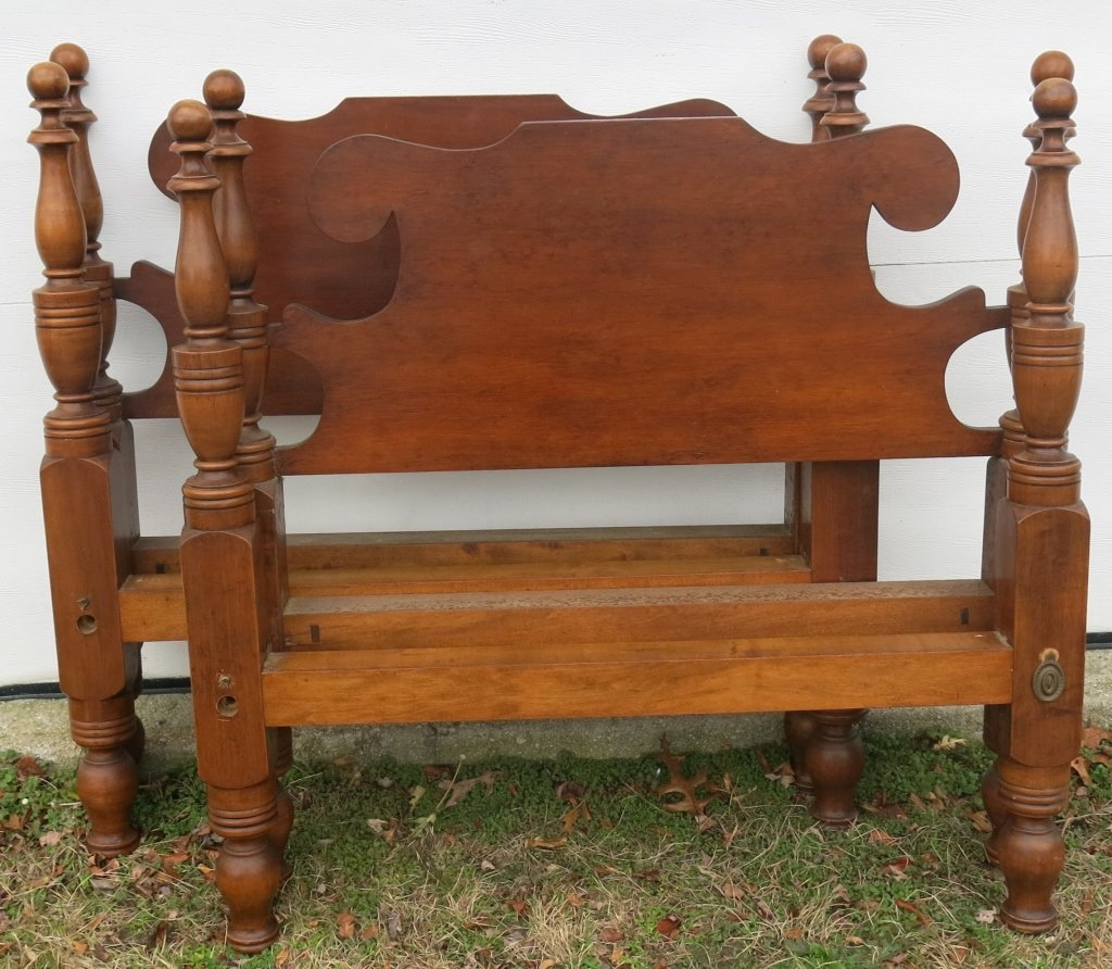 PAIR OF ANTIQUE PINE TWIN BEDS