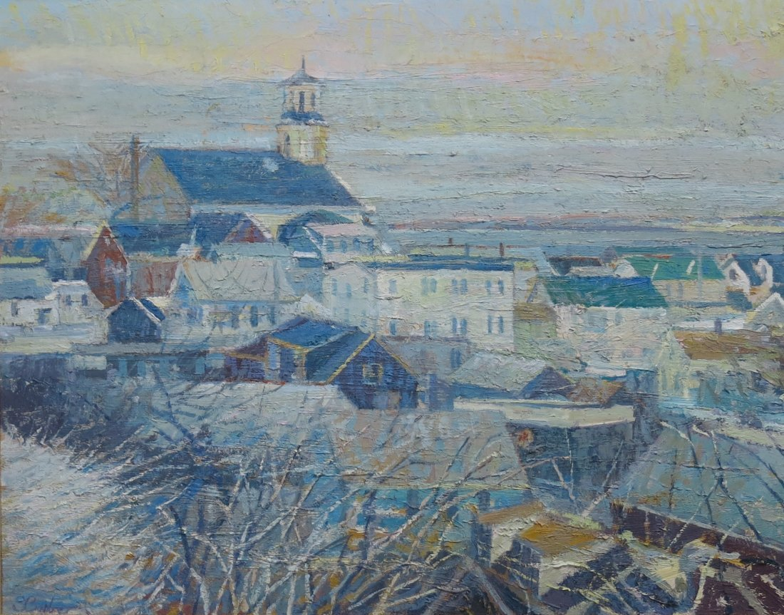 SAM BARBER OIL PAINTING OF PROVINCETOWN, MA HOUSE TOPS