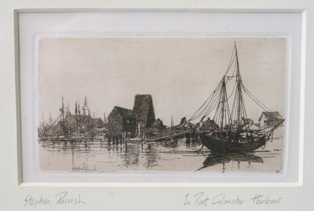 STEPHEN PARRISH PENCIL SIGNED ETCHING - GLOUCESTER