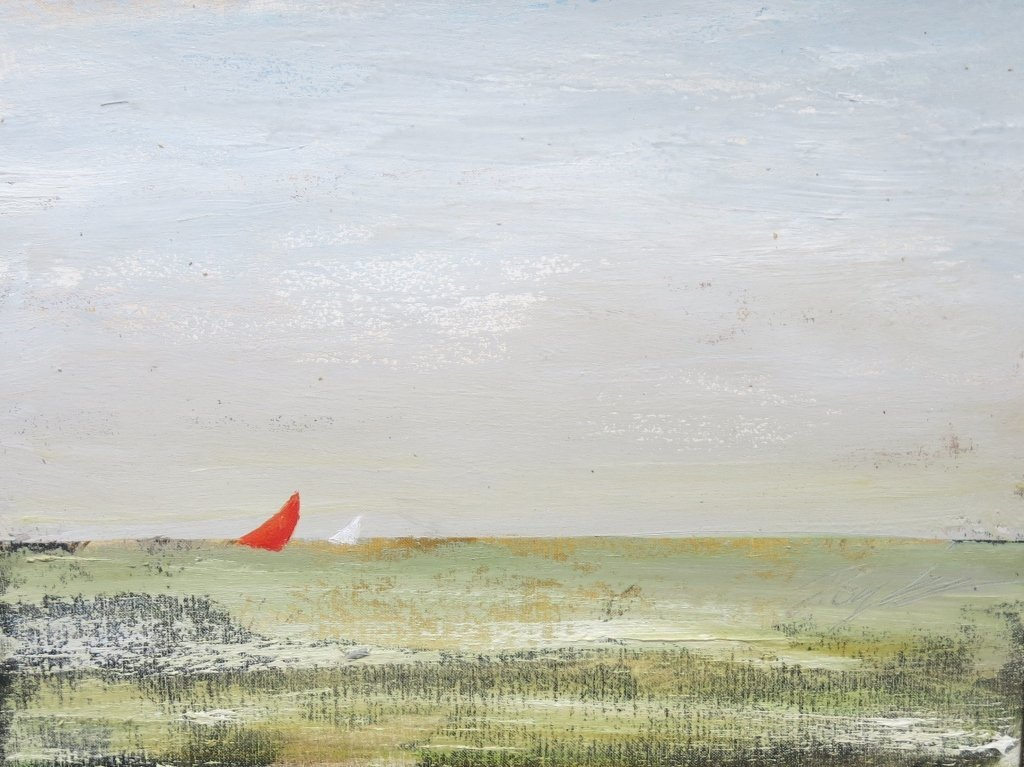 KEVIN DOYLE OIL PAINTING - SEASCAPE WITH RED SAIL