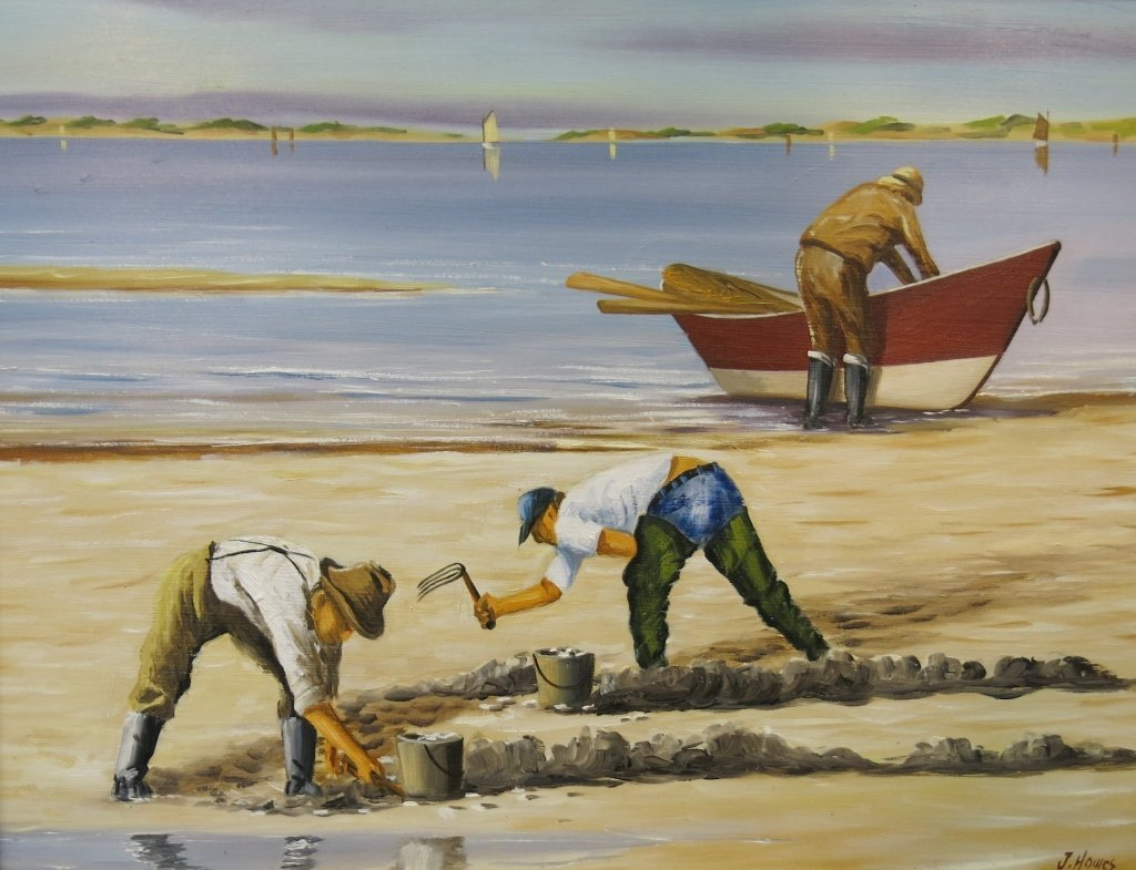 JEROME HOWES OIL PAINTING OF CLAMDIGGERS