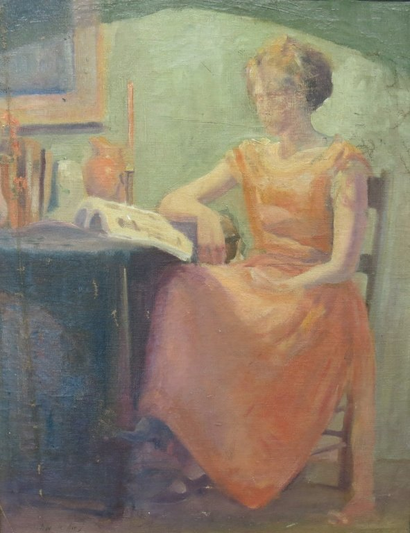 JOHN WHORF OIL PAINTING OF A  WOMAN READING