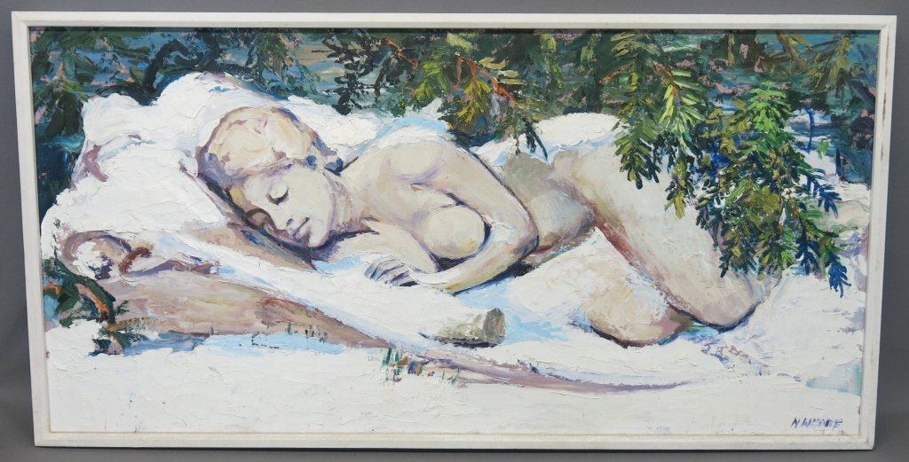 NANCY WHORF OIL ON CANVAS PAINTING - WINTER NUDE