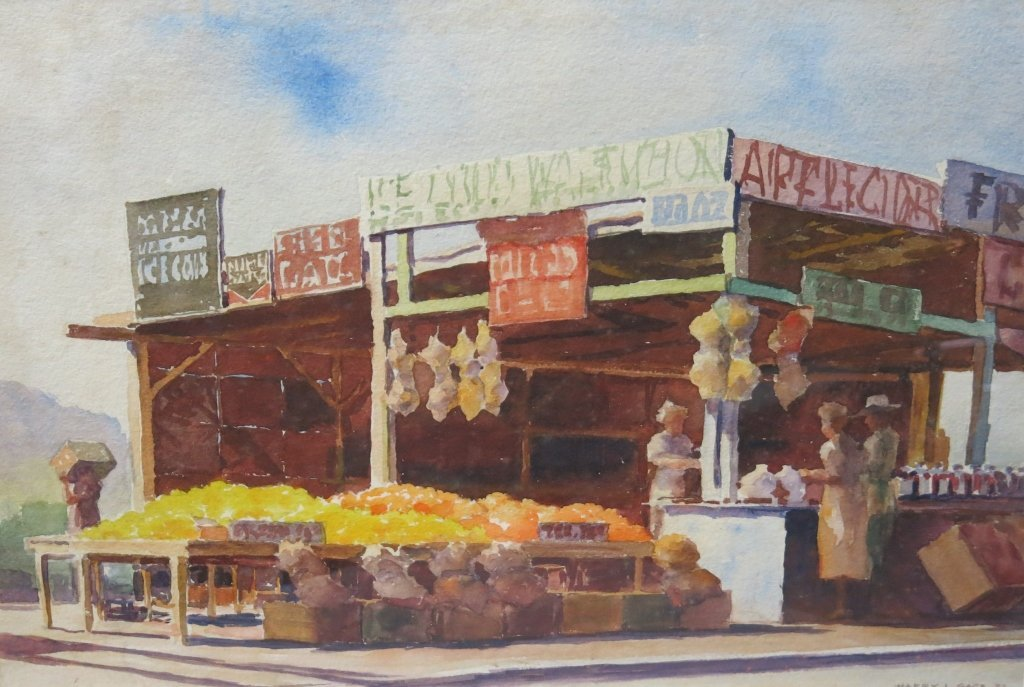HARRY L. GAGE WATERCOLOR OF A MARKET