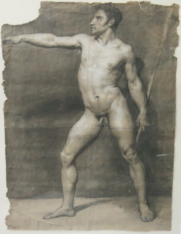 PENCIL SKETCH OF A NUDE MAN DATED 1808