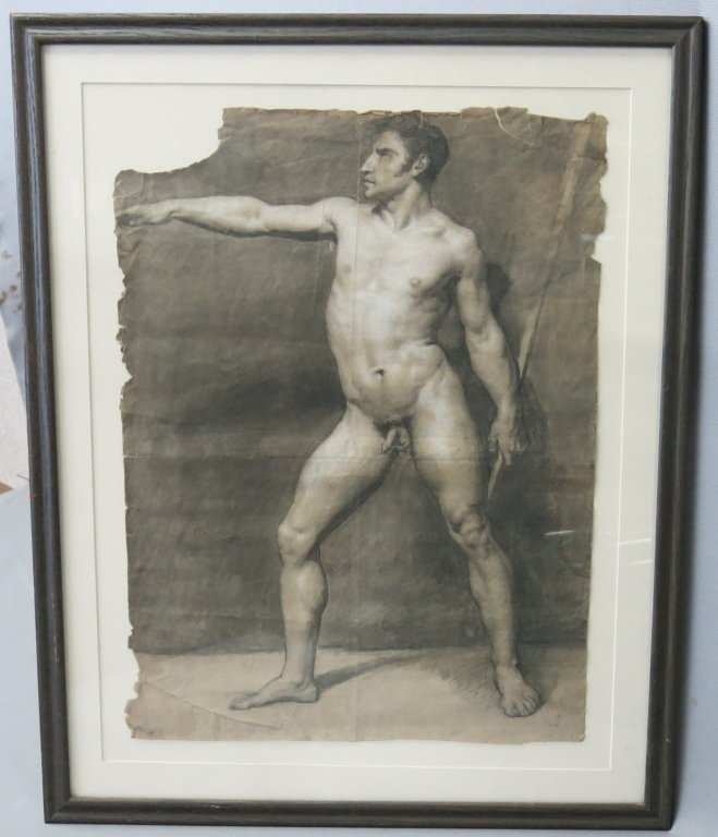 PENCIL SKETCH OF A NUDE MAN DATED 1808 - 2