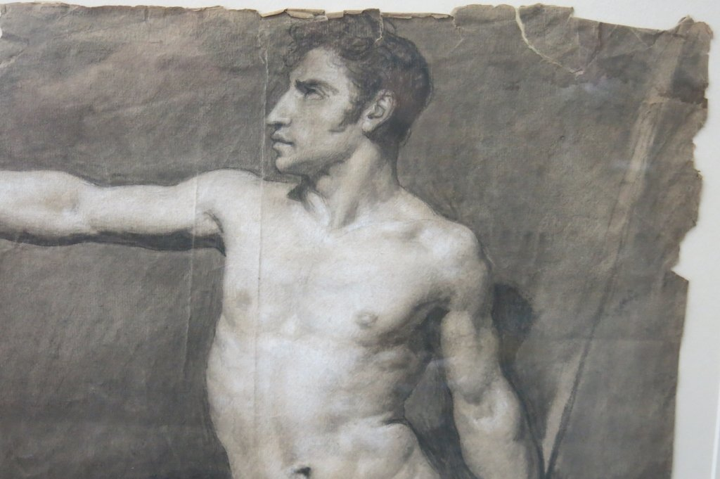PENCIL SKETCH OF A NUDE MAN DATED 1808 - 3