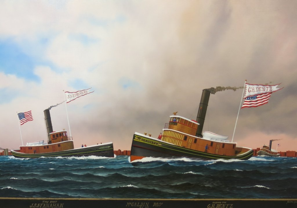 JEROME HOWES OIL PAINTING OF TUGBOATS