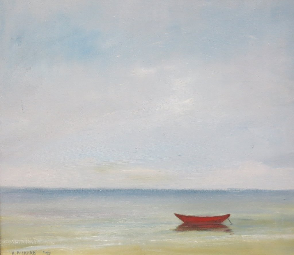 ANNE PACKARD OIL ON CANVAS OF A RED DORY