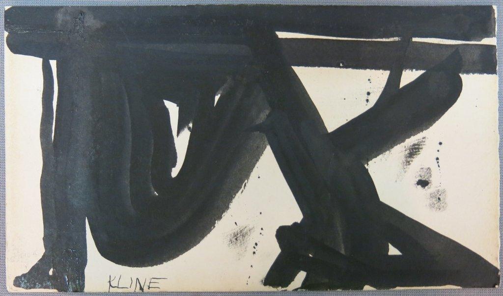 INK DRAWING ON PAPER SIGNED FRANZ KLINE