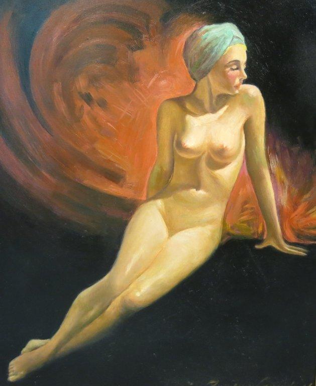 BRADSHAW CRANDELL OIL ON BOARD OF A FEMALE NUDE