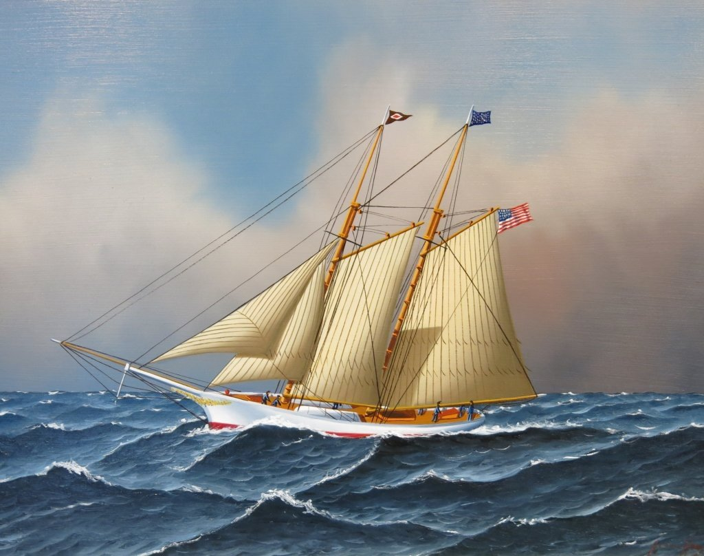 JEROME HOWES OIL OF A 2-MASTED YACHT