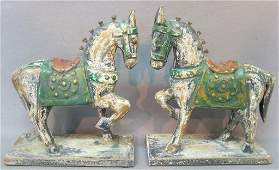 PR CHINESE TANG STYLE CARVED & PAINTED WOOD HORSES