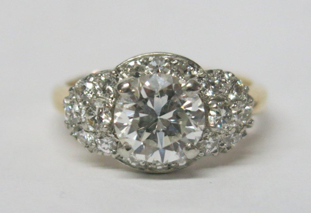 PLATINUM AND 14K GOLD DIAMOND RING