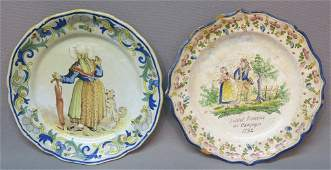 TWO EARLY FRENCH FAIENCE TIN GLAZED PLATES