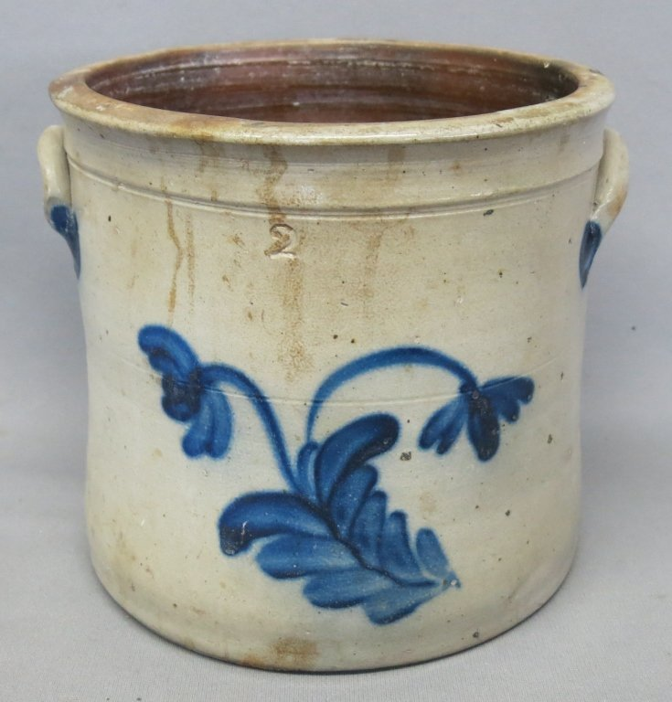 BLUE DECORATED 2 GAL. STONEWARE CROCK