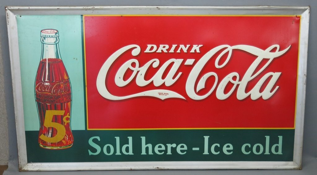 LARGE VINTAGE EMBOSSED TIN 5-CENT COCA-COLA SIGN