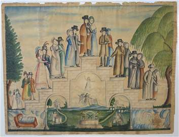 """EARLY AMERICAN FOLK ART WATERCOLOR """"STAGES OF LIFE"""""""