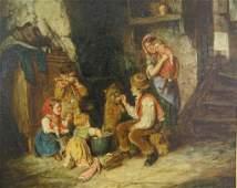 JOHN WATSON NICOL OIL PAINTING OF A FAMILY DINNER