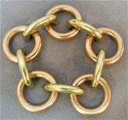 TWO-TONE 14 KT GOLD DESIGNER LINK BRACELET