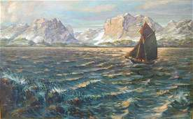 OIL PAINTING ON CANVAS OF A LAKE SCENE WITH BOAT